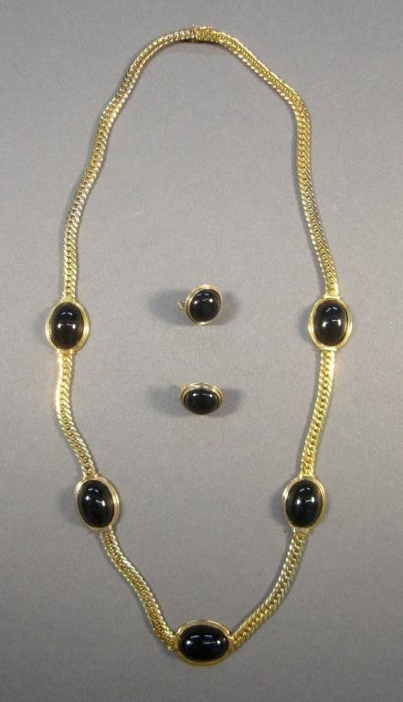 14K Gold Necklace and Pair Earrings Set