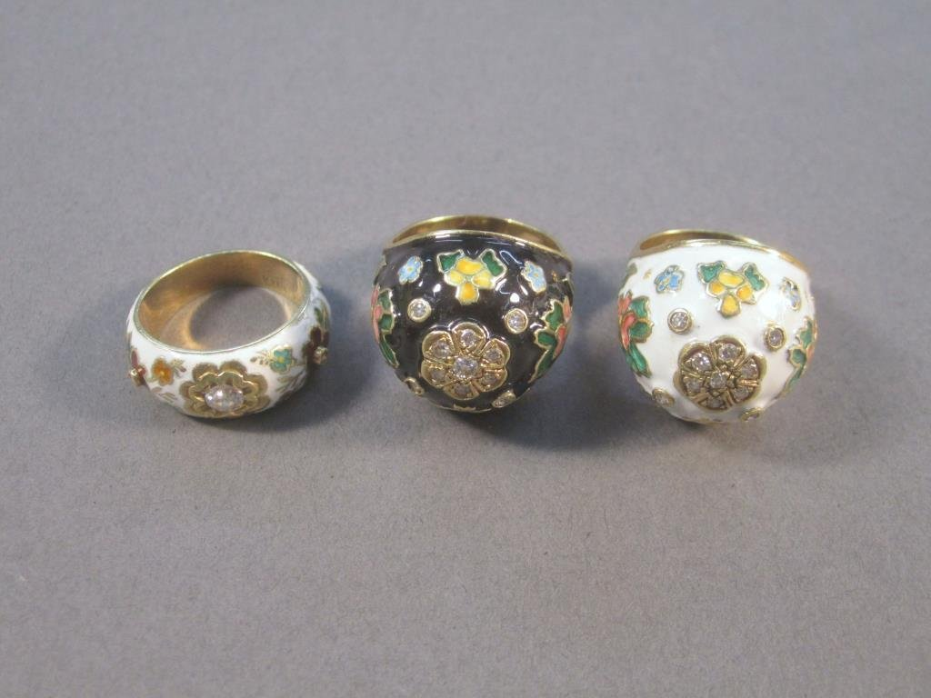 3 14K Gold and Enamel Rings