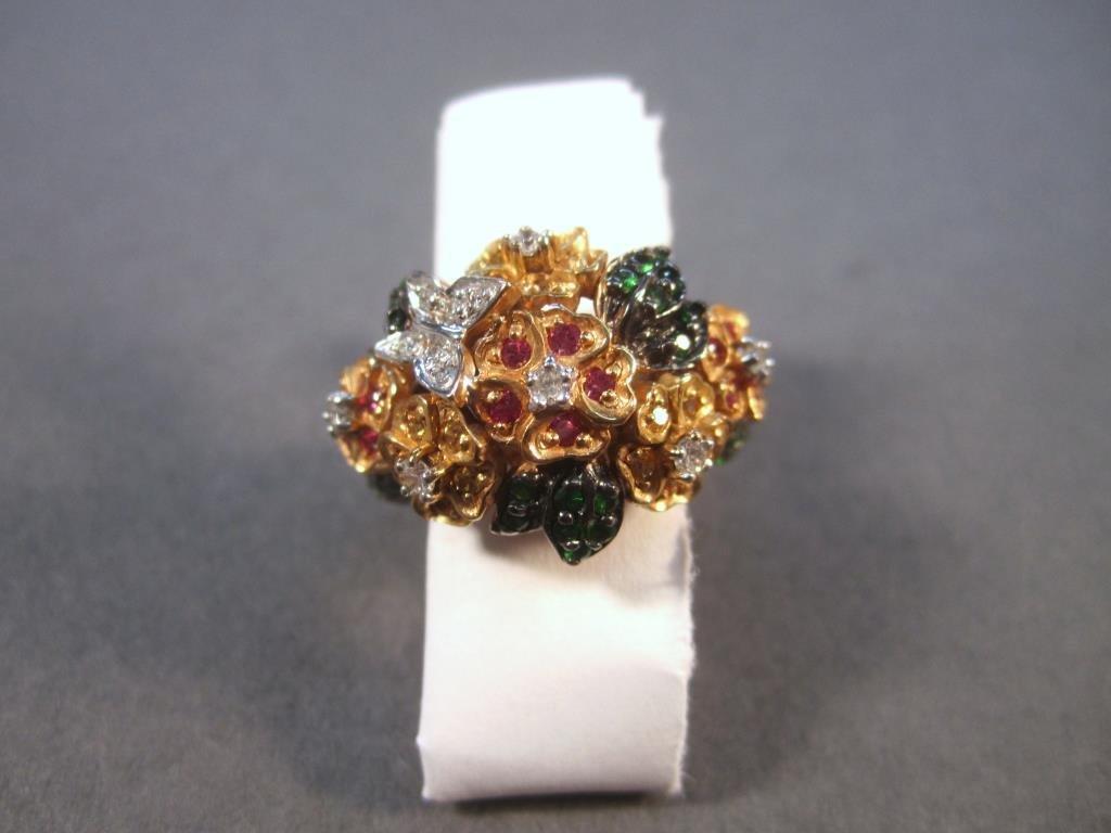 Diamond, Ruby, Tsavorite 14K Gold Ring