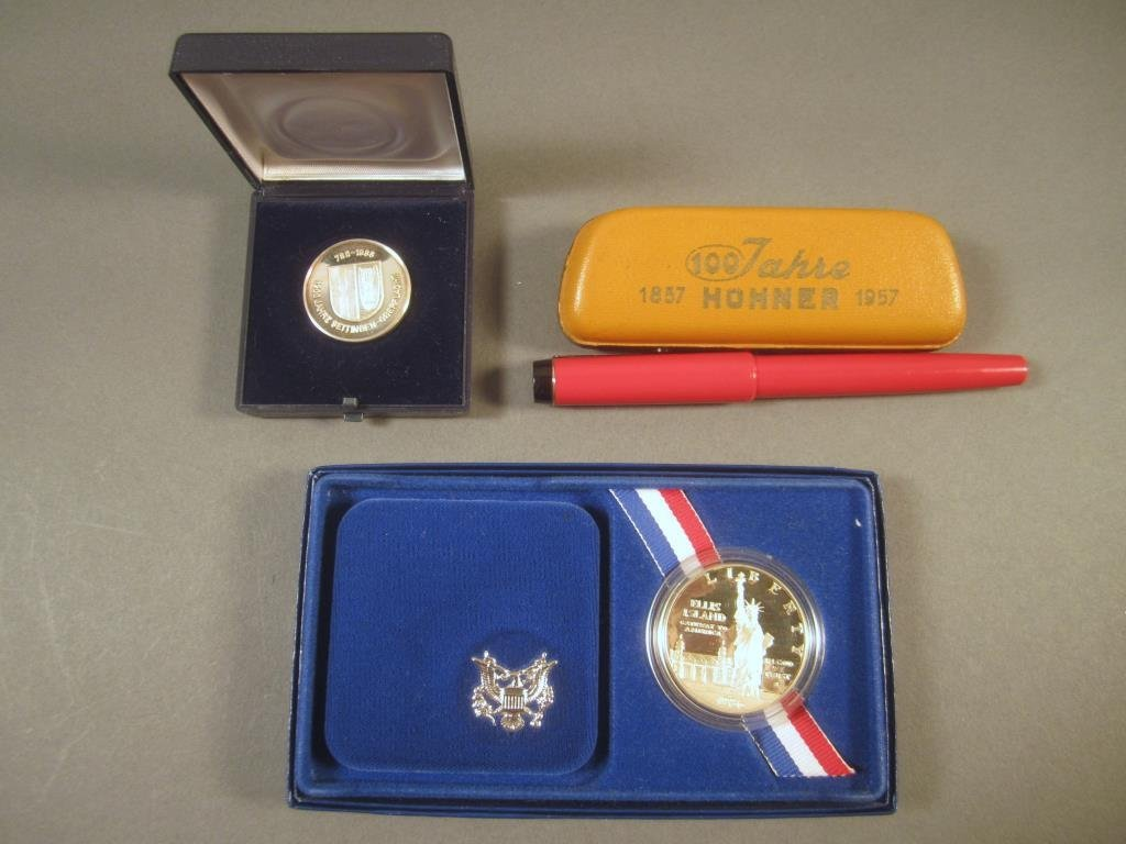 2 Boxed Coins and a Hohner Harmonica