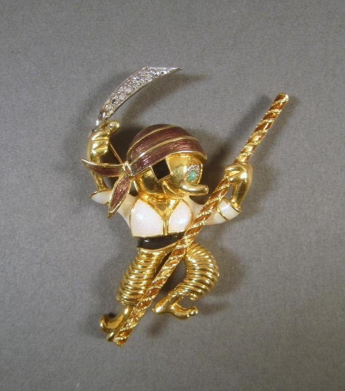 14K Gold and Enameled Pirate Shaped Brooch