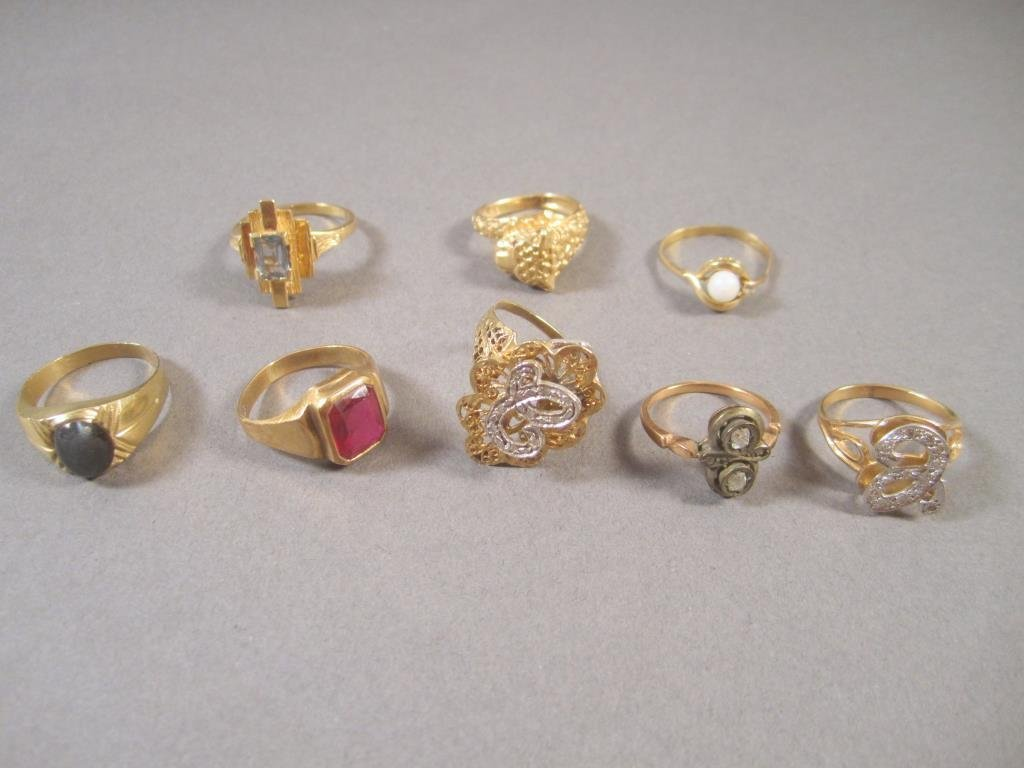 8 Assorted 14K Gold Rings