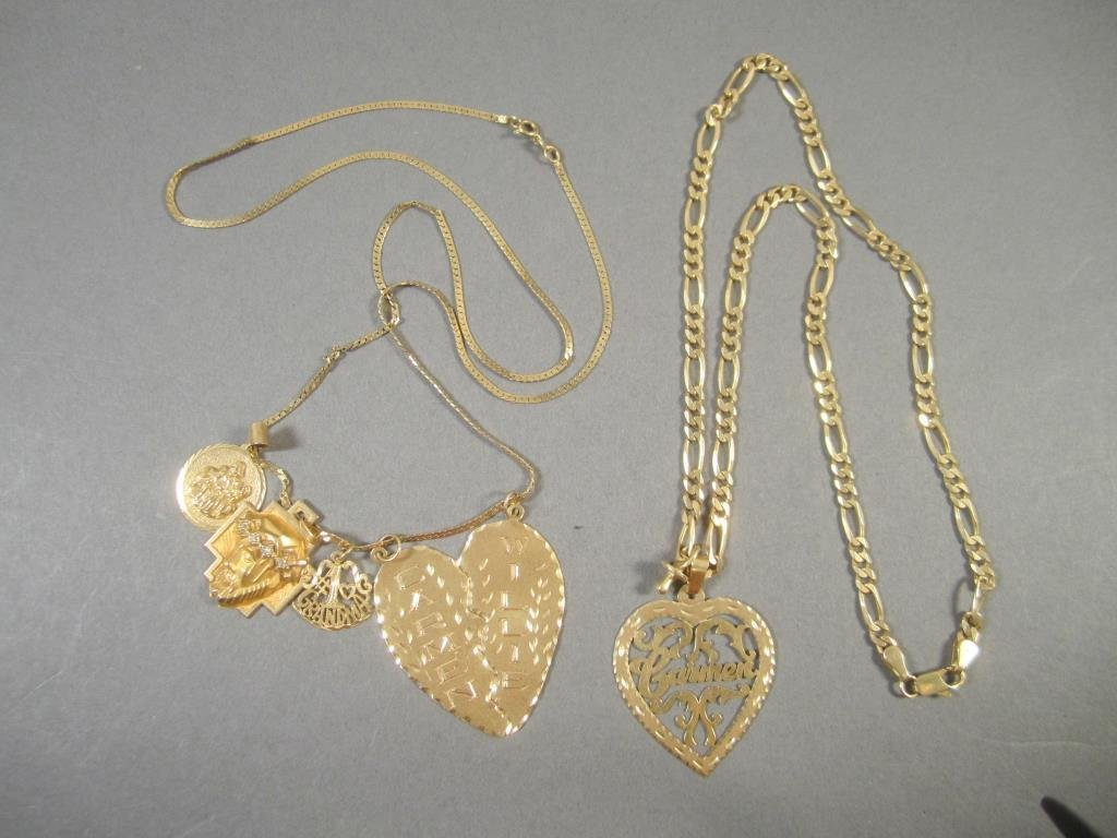2 - 14K Gold Necklaces With Charms
