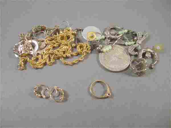Assorted Costume and Gold Jewelry