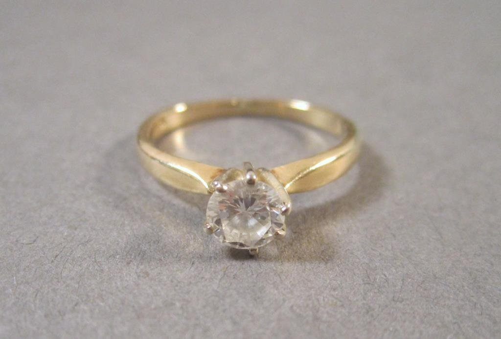 14K Gold and Diamond Solitaire Ring