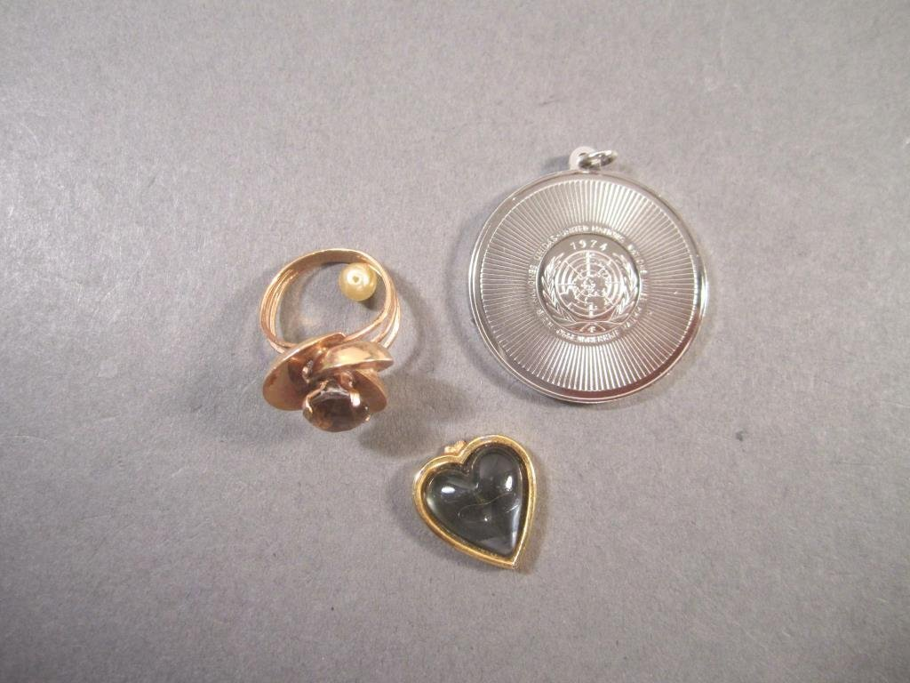 Three Gold Tone and Sterling Items