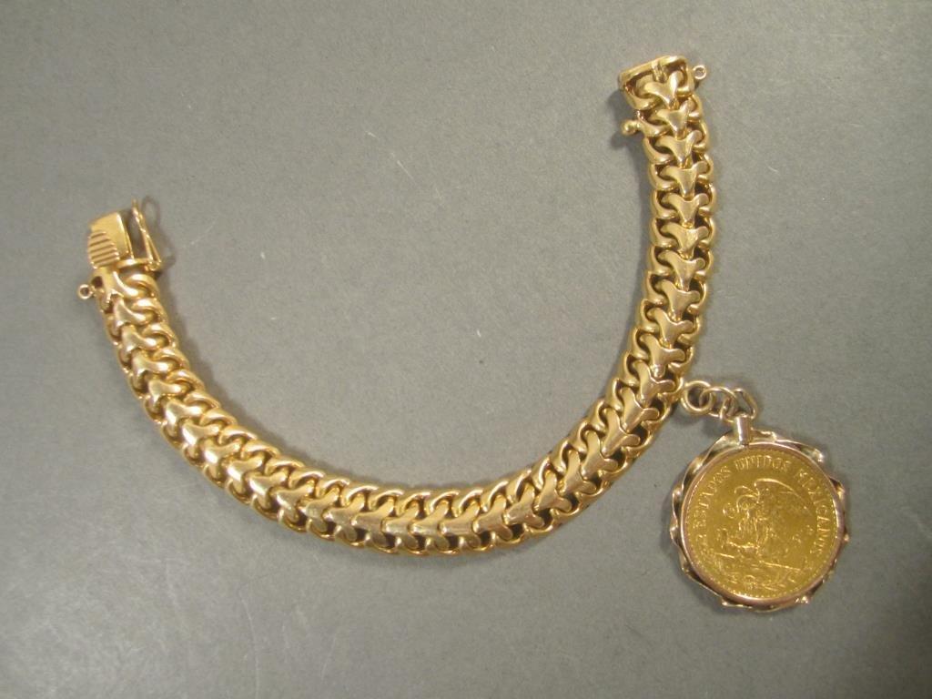 18K Gold Bracelet and Coin