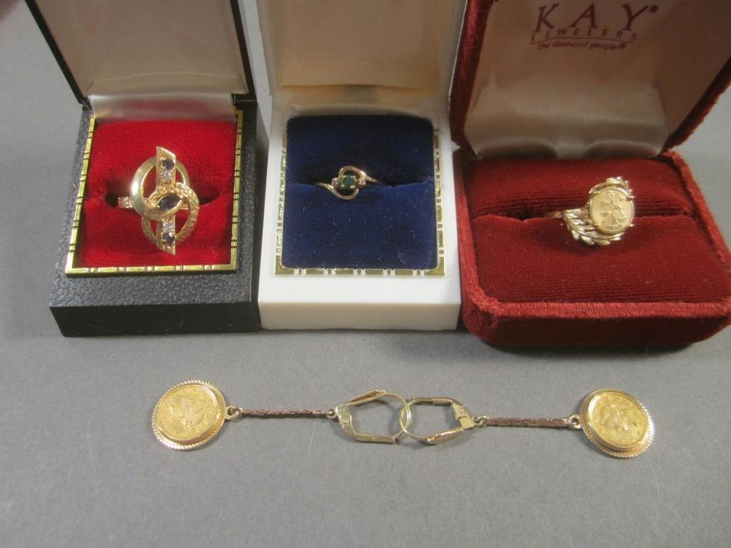 Three 14K Gold Rings and Pair Earrings