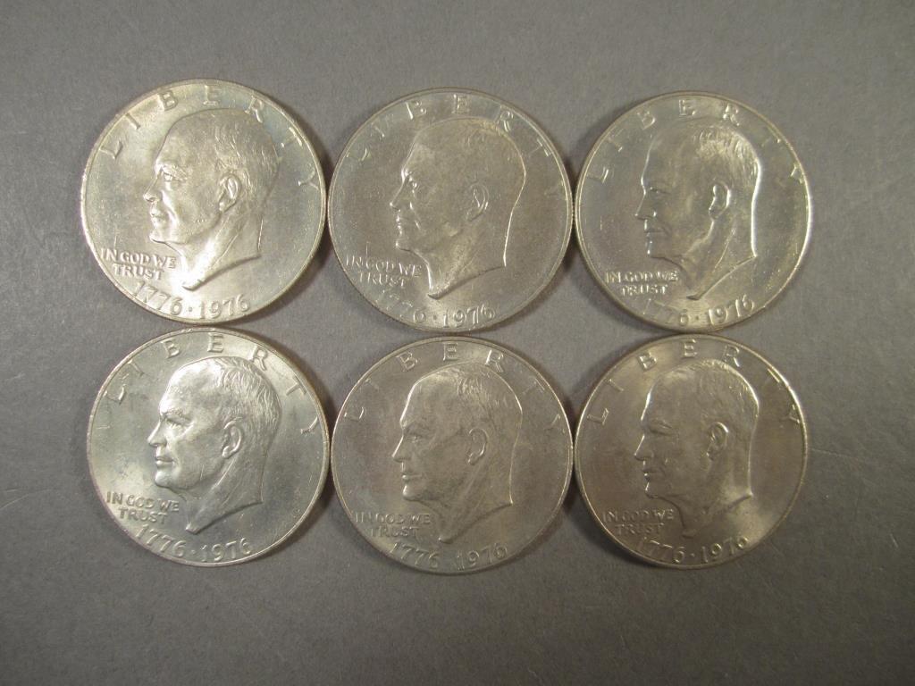 Six Bicentennial Ike Dollars