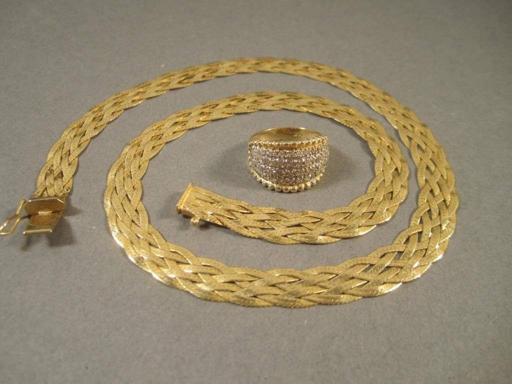 14K Gold and Diamond Ring and Necklace