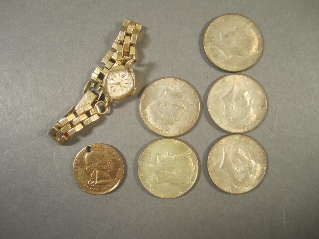 Ladies Elgin Watch and Five US Coins