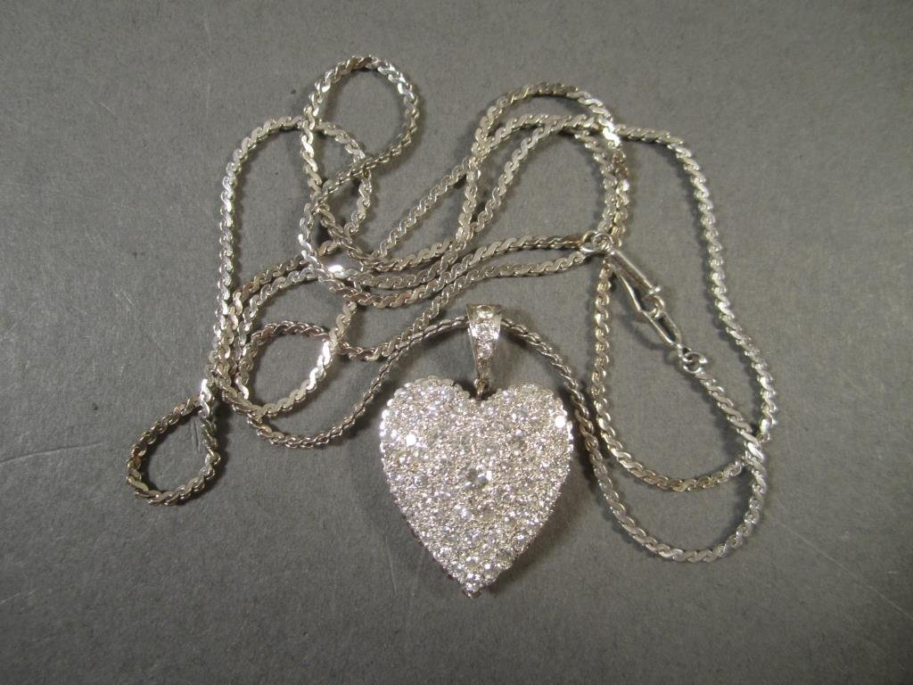 Pave Diamond Encrusted Heart Shaped Pendant