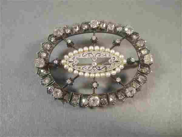 Vintage Diamond and Pearl Brooch