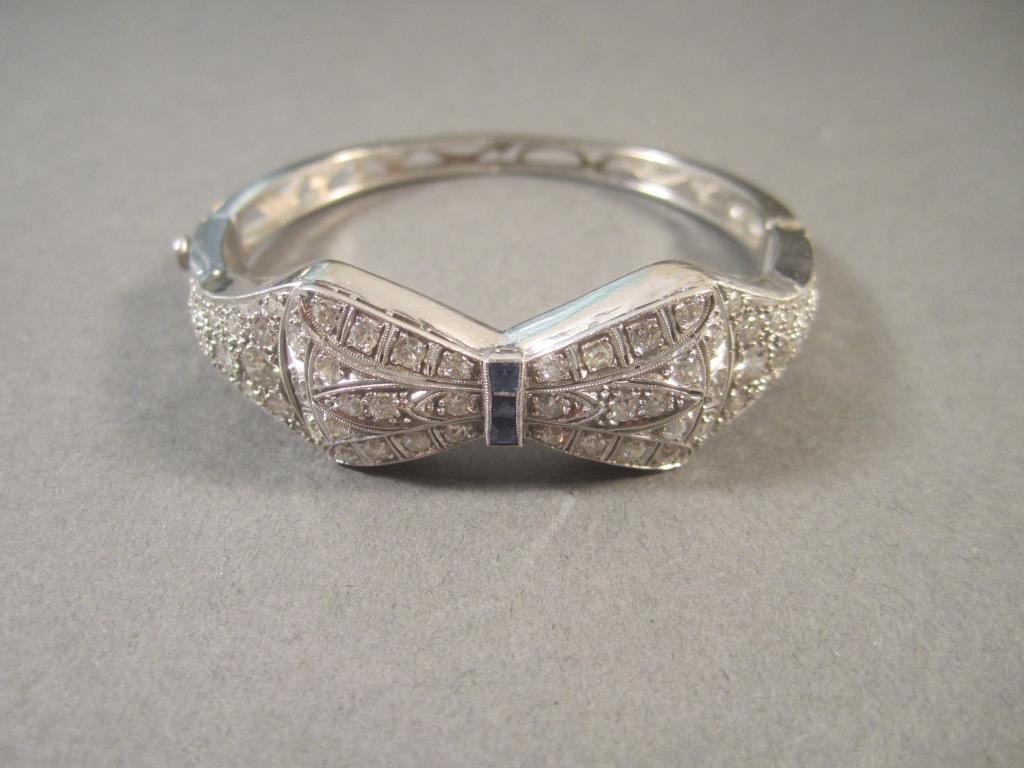 Art Deco Style 14K Gold and Diamond Bracelet
