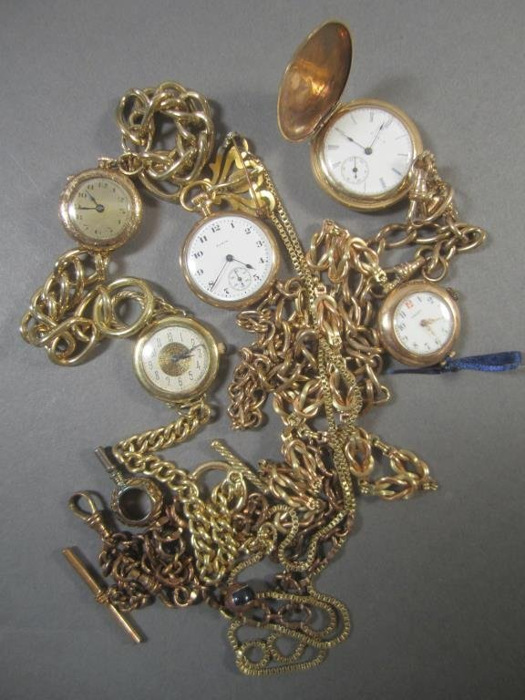 5 Gold Tone Pocket Watches & Fobs