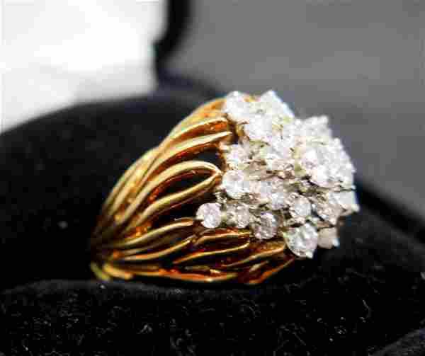 18 Karat Gold and Diamond Cluster Ring
