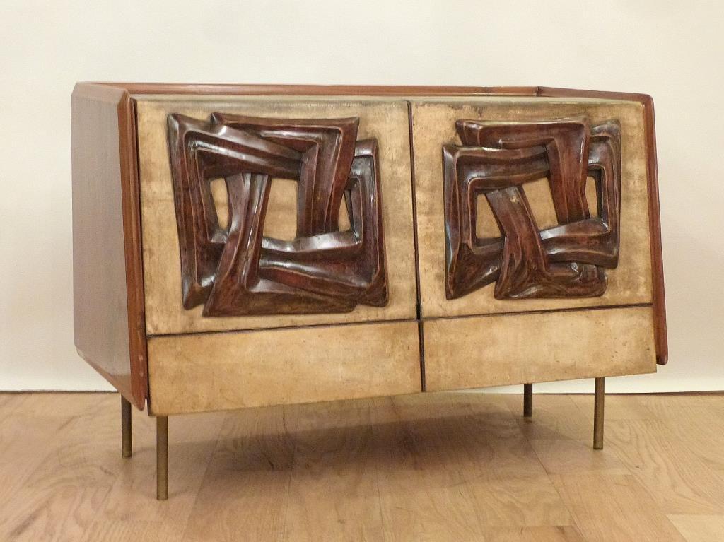 Mid-Century Parchment Bar Cabinet
