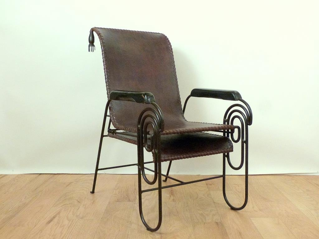Art Deco Period Iron and Leather Lounge