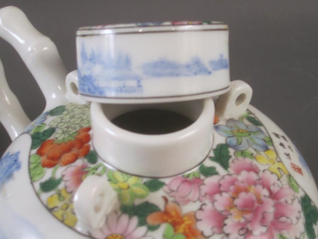 Chinese Enameled Porcelain Tea Pot - 3