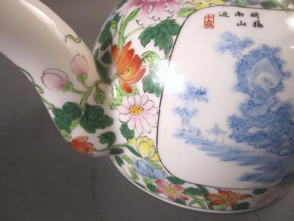 Chinese Enameled Porcelain Tea Pot - 7