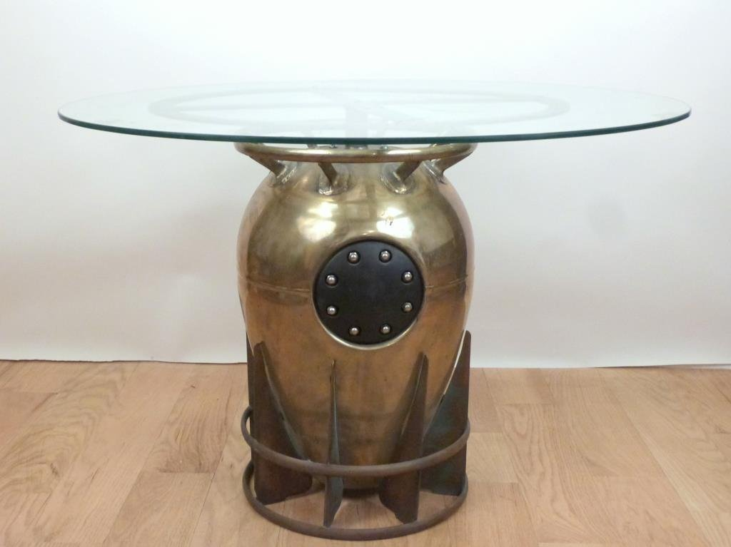 Mixed Metal Depth Charge Base Round Table