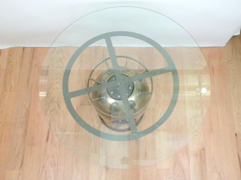 Mixed Metal Depth Charge Base Round Table - 2