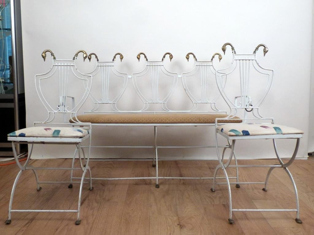 French Deco Style Iron Settee and Chair Set