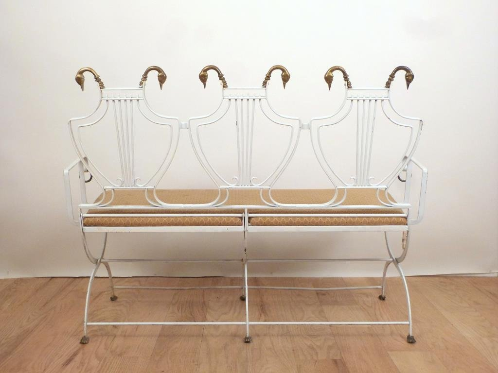 French Deco Style Iron Settee and Chair Set - 2