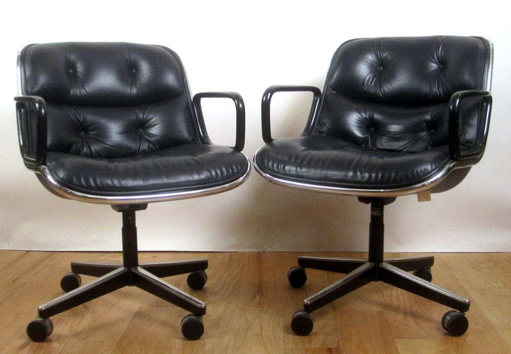 Pair Knoll Leather Office Arm Chairs (A)