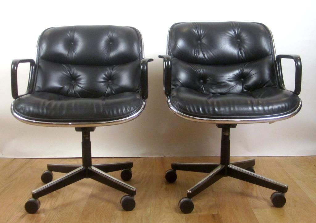 Pair Knoll Leather Office Arm Chairs (A) - 2