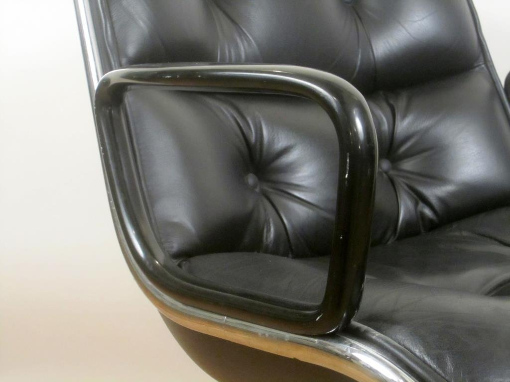 Pair Knoll Leather Office Arm Chairs (A) - 3