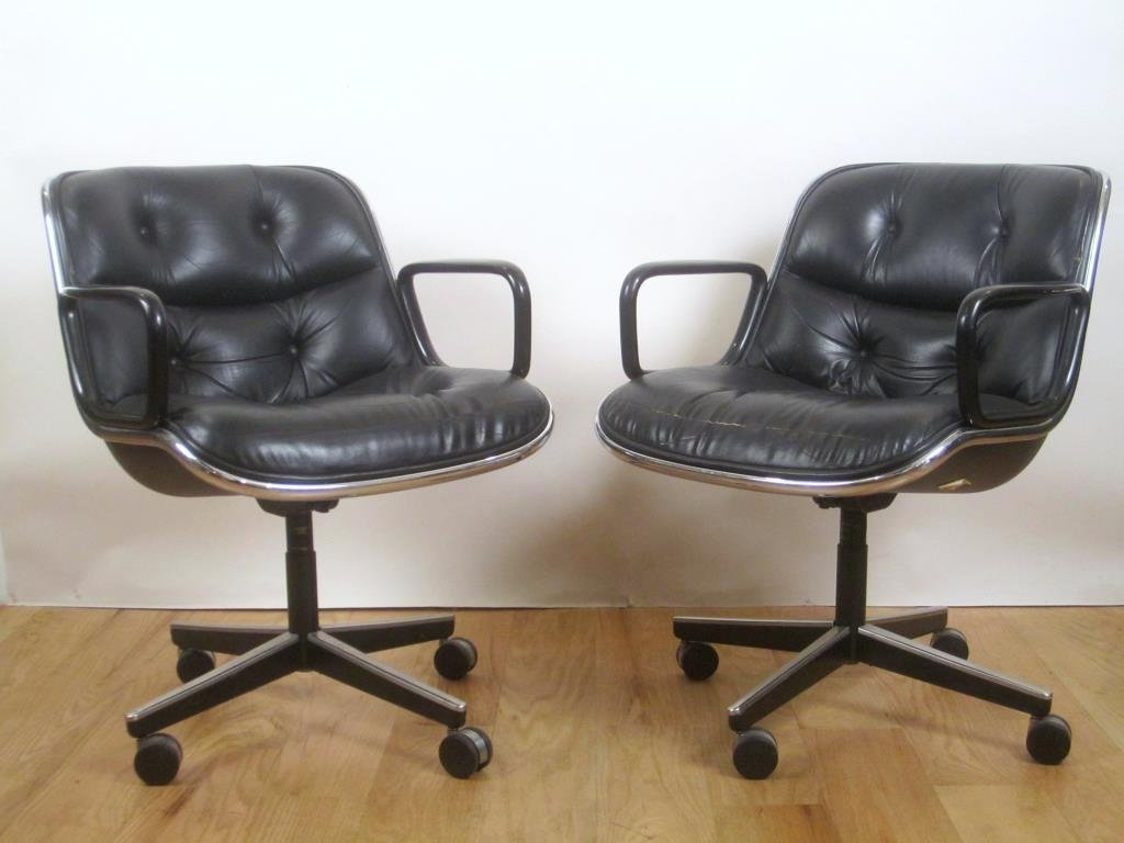 Pair Knoll Leather Office Arm Chairs (B)