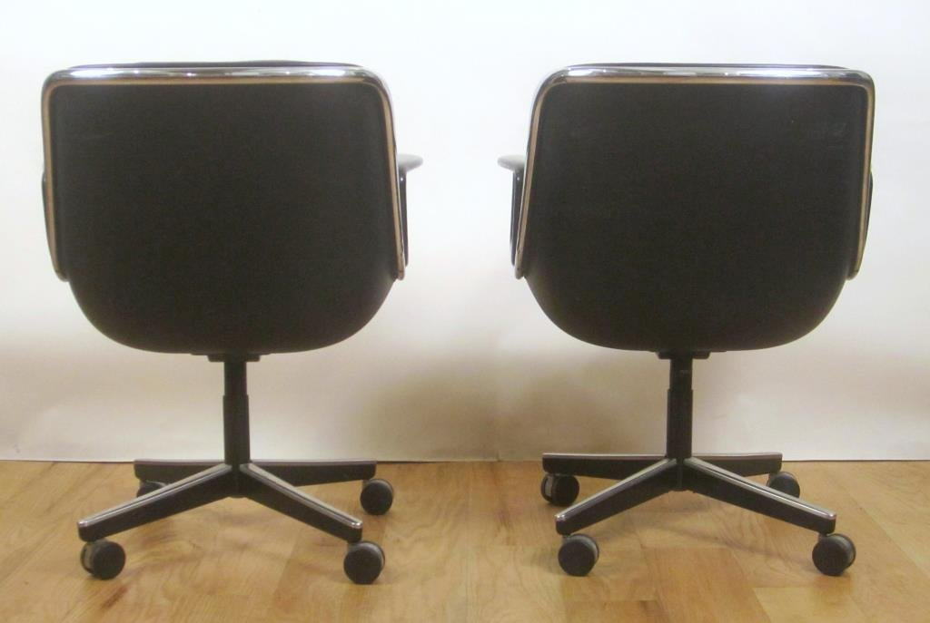 Pair Knoll Leather Office Arm Chairs (B) - 2