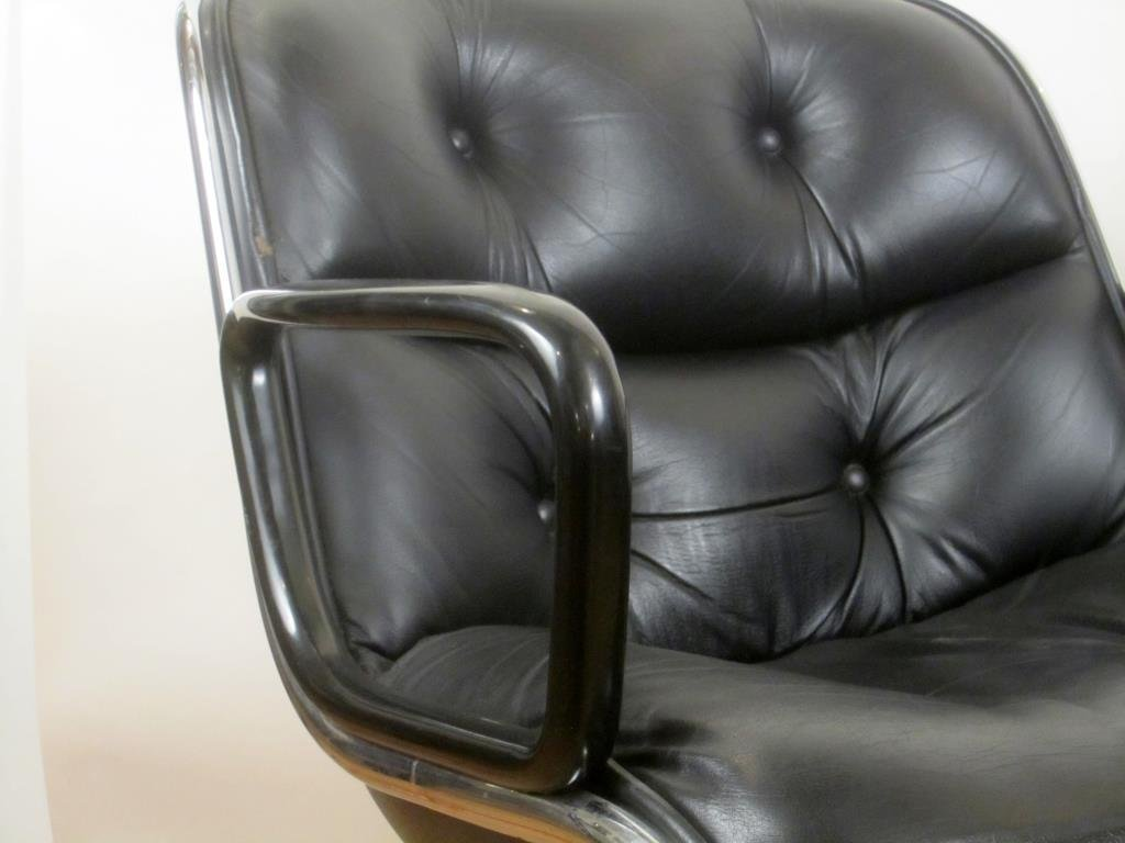 Pair Knoll Leather Office Arm Chairs (B) - 4