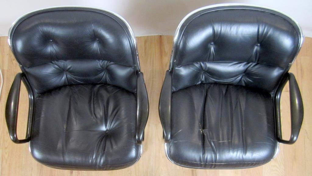 Pair Knoll Leather Office Arm Chairs (B) - 5