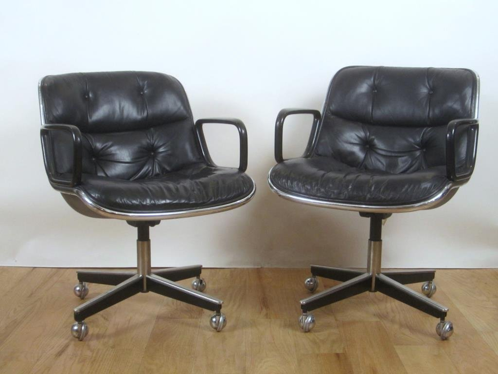 Pair Knoll Leather Office Arm Chairs (C)