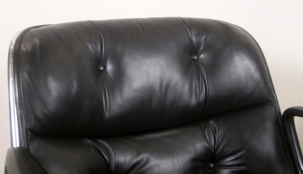 Pair Knoll Leather Office Arm Chairs (C) - 2