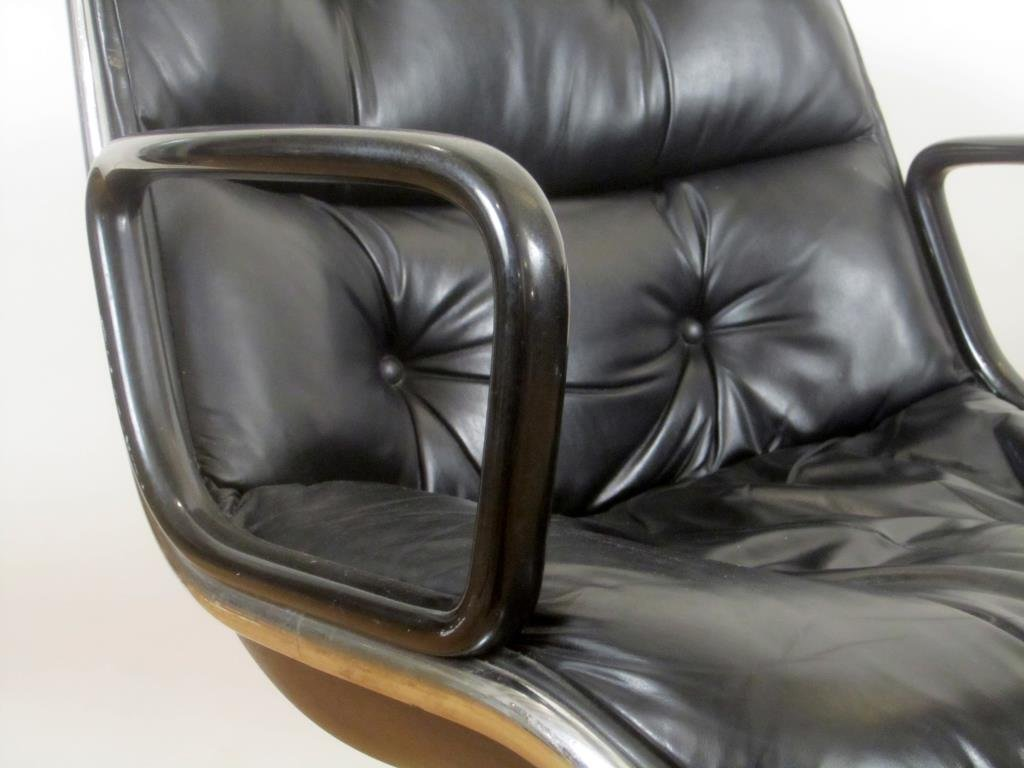Pair Knoll Leather Office Arm Chairs (C) - 3