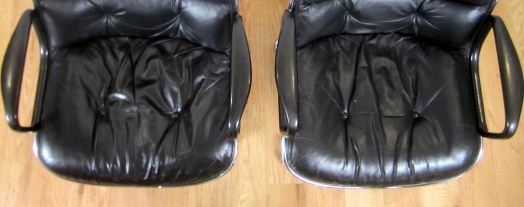 Pair Knoll Leather Office Arm Chairs (C) - 4