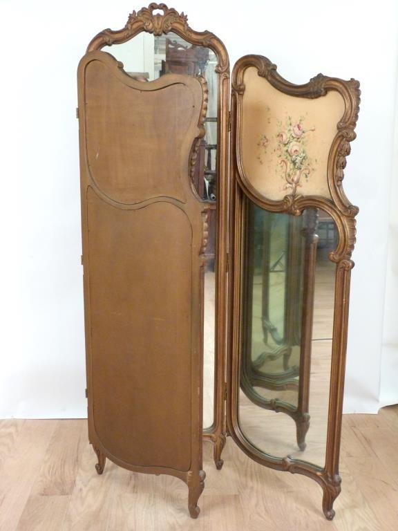 Louis XV Style 3 Panel Dressing Screen - 4