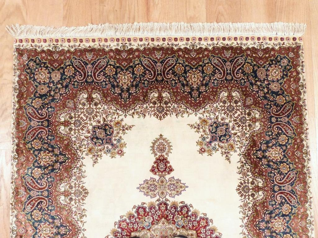 "Indian Silk Rug 4' 1 X 6' 1"""" - 2"