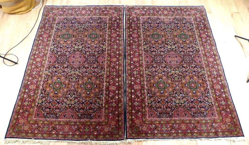 "Pair Rare Kashan Rugs 4' 3 X 6' 9"""""