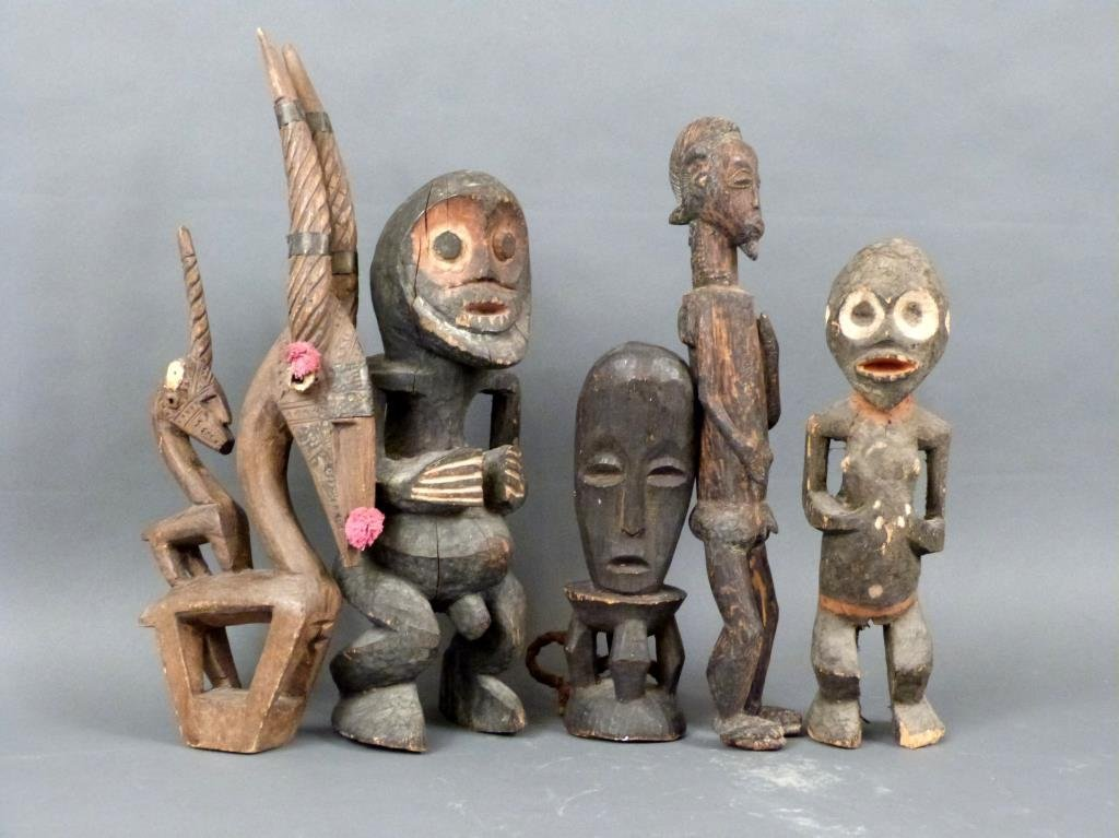 5 African / Ethnographic Carved Wood Figures