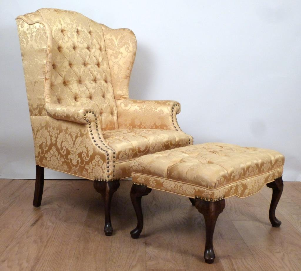 Queen Anne Style Wing Chair and Ottoman