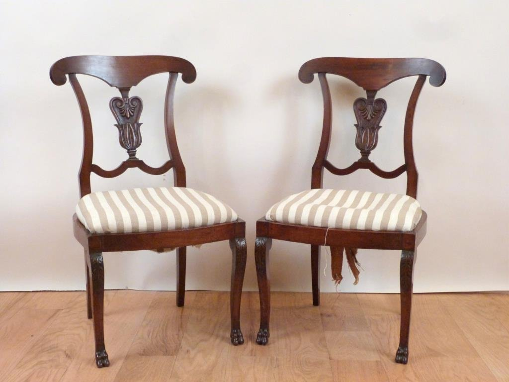 Pair Antique Italian Side Chairs