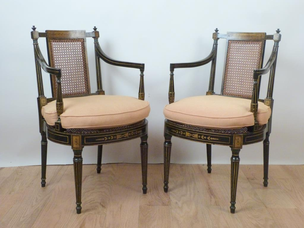 Pair Howard & Sons 19th Century Arm Chairs