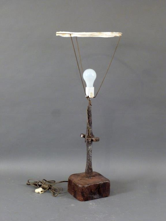 Mexican Iron Post Table Lamp