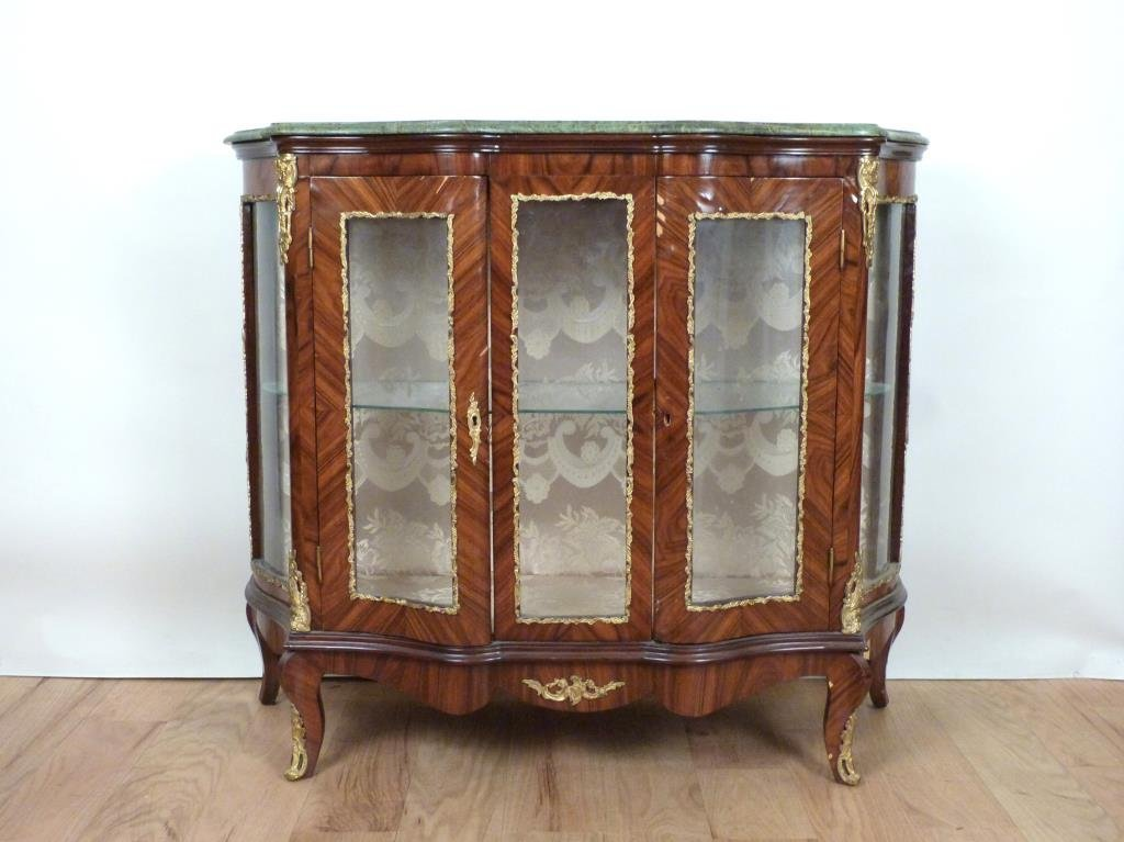 French Style Marble Top Vitrine Cabinet