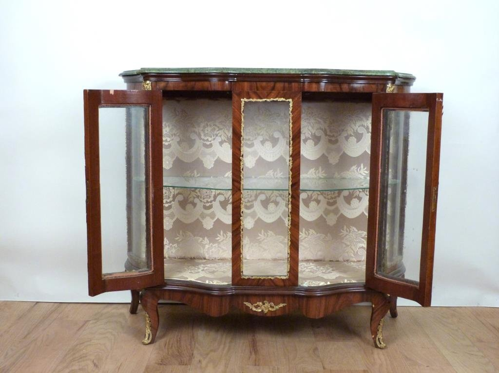 French Style Marble Top Vitrine Cabinet - 2