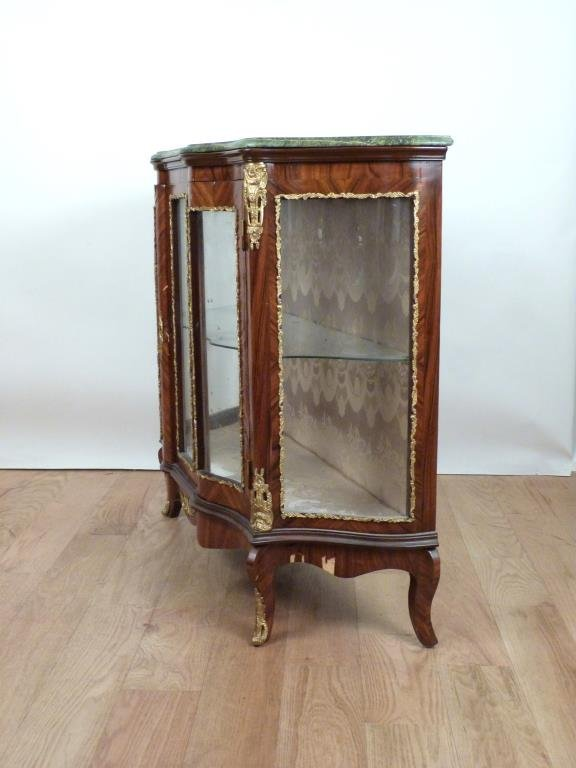 French Style Marble Top Vitrine Cabinet - 4